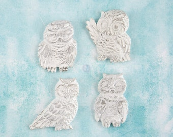 Prima Shabby Chic Treasures Collection Ingvild Bolme Resin Owls Embellishments Heart Owl
