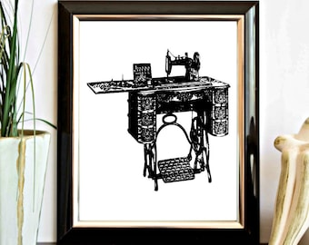 Instant Download - Vintage Treadle Sewing Machine Printable Wall Art - Wall Decor Poster - Office Decor - Digital Artwork