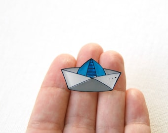 Paper boat brooch, illustrated jewelry, Origami boat, summer brooch