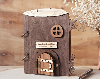 Wedding Guest Book Tree house Rustic Forest or Garden - Baby Shower, House warming or Anniversary gift TrBk1