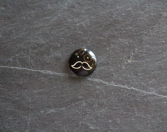 """""""Mr. Moustache"""" 18 mm glass cabochon"""