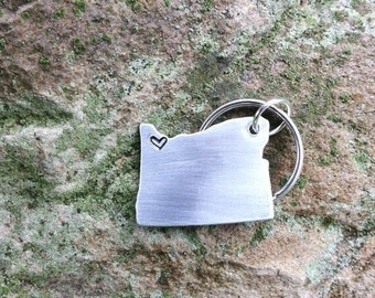 CUSTOM State Key chain / Long Distance Relationship State Map Keychain with Hearts #STATEh