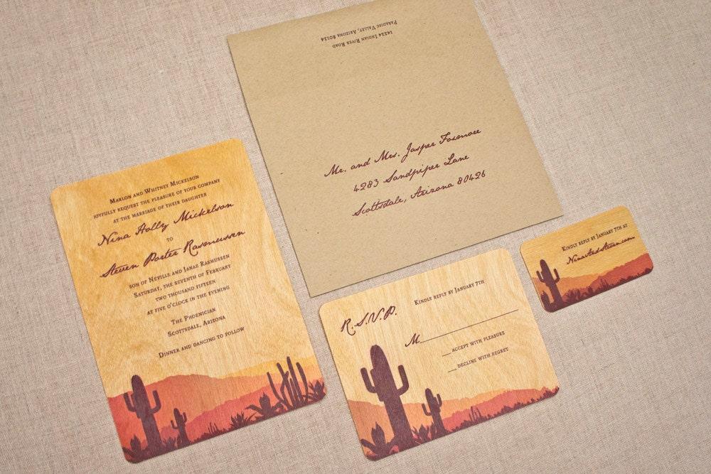 Real Wood Wedding Invitations: Real Wood Wedding Invitations Desert Sunset