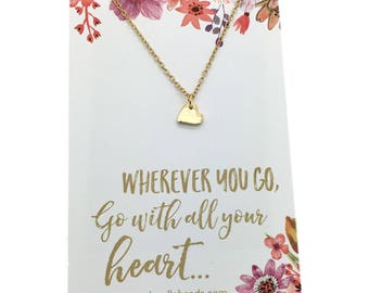 Graduation gift for her, graduation necklace, wherever you go, go with all your heart, tiny gold or silver heart necklace new adventure