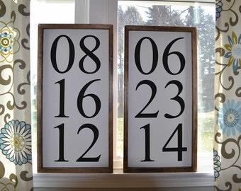 Set of Two Custom Handmade Date Signs