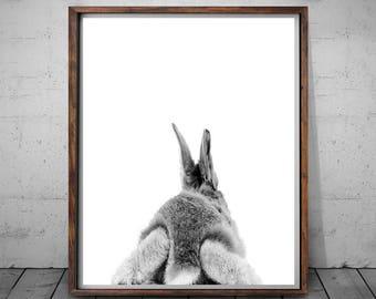 Rabbit Print, Rabbit Butt Tail, Rabbit Baby Nursery, Rabbit Print Decor, Rabbit Black and Whitet, Rabbit Photo, Wall Art, Nursery Bunny Art
