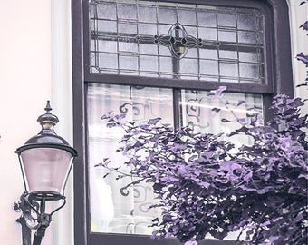 Letting Summer Air In - window photography, fine art print, wall art canvas, old window, old lantern, window decor, old house, purple, tree