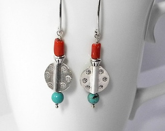 Genuine Red Coral, Turquoise and Sterling Silver Beaded Dangle Earrings, Southwestern Jewelry, American Handmade Western Wear