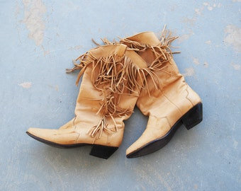 Clearance SALE vintage 1980s Fringe Boots - 80s Western Cowgirl Leather Boots - Tan Cowboy Boots Sz 6.5 37