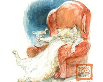 Cat-a-tonic (print) cat, cocktail hour, tgif, relax, comfy chair, martini, bar decor