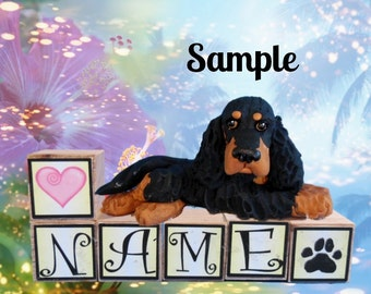 Gordon Setter PERSONALIZED with your dog's name on blocks by Sally's Bits of Clay