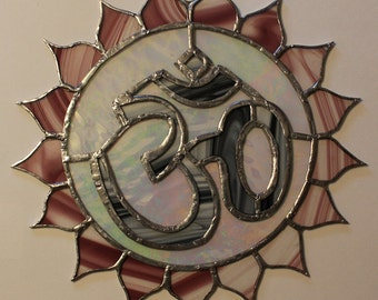 Stained glass Aum or om symbol sun catcher/ wall hanging