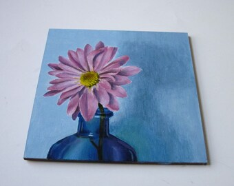 Small Acrylic Painting, Still Life Floral Painting in Pink and Blue, Flower in a Bottle Original Art