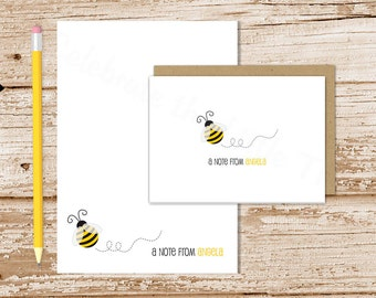 personalized bee stationery set . bumble bee notepad + note card set . notecards note pad . teacher stationary gift set