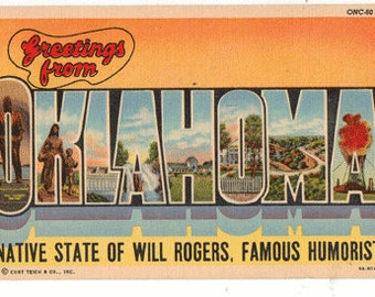 Linen Postcard, Greetings from OKLAHOMA, Will Rogers, Large Letter, 1958