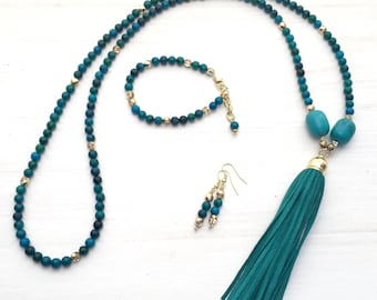 Aqua necklace - Jewelry gift set - Mother's Day gift - Tassel necklaces - Beaded tassel necklace - Leather tassel - Bohemian necklace