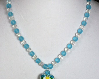 Painted Bird Heart Necklace