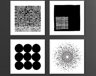 Set of 4, Black and White Dots Midcentury Modern Geometric Abstract Art Print Set, Home Staging, Gallery Wall, Interior Design, Abstract Art