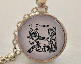 ANCIENT TAURUS glass pendant necklace, Astrology necklace, Taurus jewellery, Silver astrology necklace