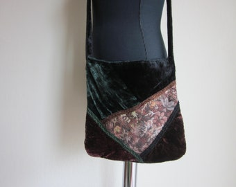 Black, Green and Brown velvet with floral tapestry patchwork purse