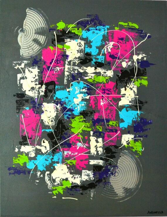 Tableau moderne design color abstrait tableau contemporain - Tableau colore design ...