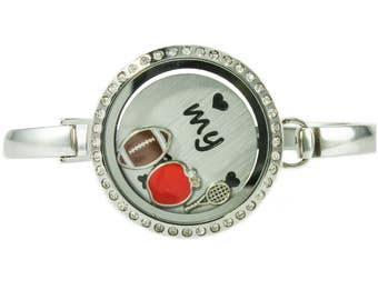 Floating Locket Bangle Bracelet with Choice of 6 Charms