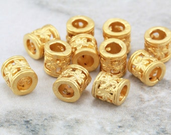 10 pcs Gold Tube Beads, (6mm x 6mm) Gold Tube Beads, 24k Matte Gold Plated Tube Bead, Metal Gold Beads, Tube with Flower Pattern / GPY-035