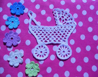 "The crochet applique ""The baby pram"" PATTERN, download PDF- file, digital file"