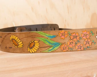 Leather Guitar Strap - Handmade in the Seeds pattern with flowers and seeds in antique brown - Acoustic or Electric Guitar, Banjo, Bass