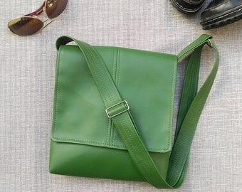 Kale green faux leather vegan flap messenger satchel cross body crossbody shoulder  handbag bag