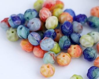 Beads Mix Blue Green Red Orange Rondell Wafer Fancy Beads 6x5mm (30 pcs) Small Donuts Czech Glass Beads