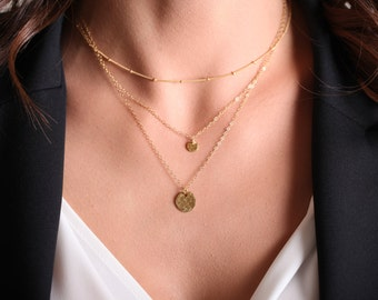 Perfect Layering Necklace // Dainty Beaded Satellite Chain // Short Sterling Silver or 14k Gold Fill Chain //