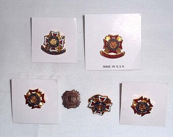 6 Vintage VFW Veterans of Foreign Wars Pins Including 2 Ladies Auxiliary Pins and 2 Life Member Pins - Military - Cross of Malta