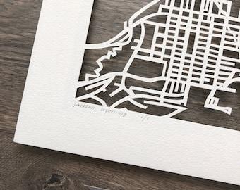 Jackson, WY hand cut map ORIGINAL, 10x10