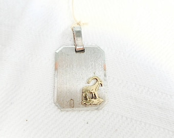 French Vintage .835 Silver Aries Astrological / Horoscope Sign New Old Stock 1970's Pendant (C507)