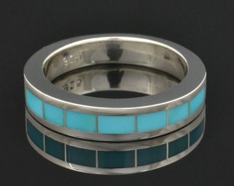 Men's Turquoise Inlay Ring in Sterling Silver by Hileman Silver Jewelry - Turquoise Wedding Band - Turquoise Wedding Ring