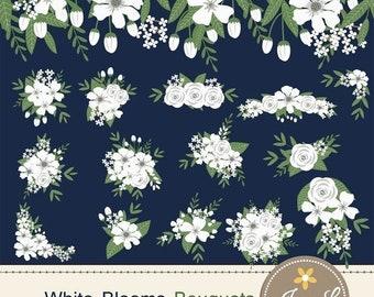 50% OFF White Flower Bouquet Clipart, Wedding Flowers, Flower Bunches, Floral Arrangement for digital Scrapbooking, Wedding, In