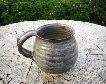 Pottery mug ,stoneware cup Scottish heather