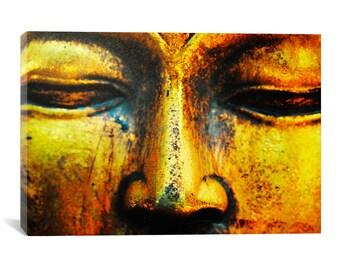 Buddha Gold Canvas Print - Buddha Wall Art, Buddhism Canvas Decor, Modern Art