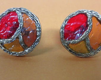 Cuff Links - Vintage Peace Sign Cuff Links - Red and Amber Vintage CuffLinks