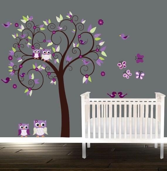 Kinderzimmer ideen für mädchen eule  Mädchen Kinderzimmer Eule Wandtattoo Purpur Gärtnerei Baum
