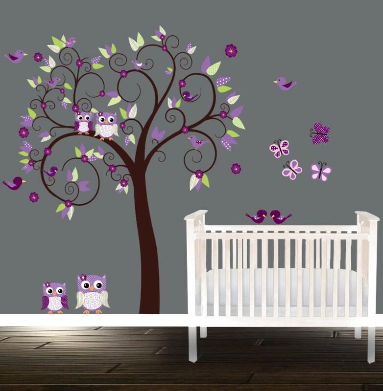 Mädchen Kinderzimmer Eule Wandtattoo Purpur Gärtnerei Baum