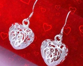 50% SALE Valentines Day Earrings Heart..Silver Heart Earrings..Puffed Heart Earrings..Filigree Heart Earrings..Valentines Day Gift For Her