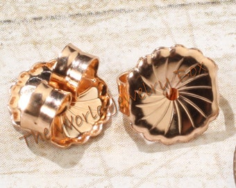 9.4mm Solid 14K Rose Gold Safety Friction Earring Backs Stoppers Ear Nuts, Sold by the PAIR