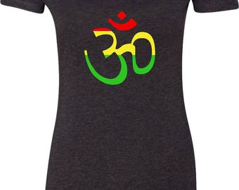 Yoga Clothing For You Ladies Shirt Rasta AUM Womens Scoop Neck Tee Shirt = 6730-RASTAAUM