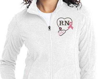 Monogram Stethoscope Fleece Jacket - Nurse Fleece Full Zip Jacket - RN Monogram Apparel - White Jacket - Plus Size Jacket