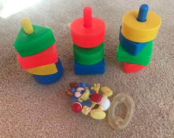 Fisher Price Creative Blocks vintage with baby rattle