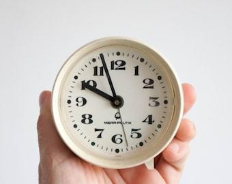 Vintage Alarm Clock, Polish Desk Clock - Mera Poltik, Cream White Alarm Clock, Office Decor, Ecru