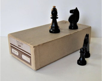 """Vintage Horn natural and Black wood Chess pieces, 3"""" tall, vintage toys and games, original cardboard box, Father's Day, gift idea"""
