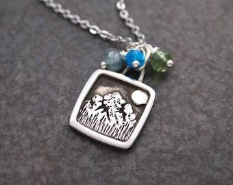 Colorado Rocky Mountain Necklace, Mountain Jewelry, Apatite Necklace, Mountain Lover Gift, Aquamarine, Silver Mountain, Mountain Necklace